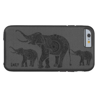 Black Leather Embossed Floral Elephant-Monogram Tough iPhone 6 Case