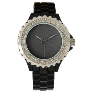 Black Leather Face Watch