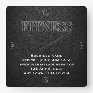 Black Leather Fitness Wall Clock
