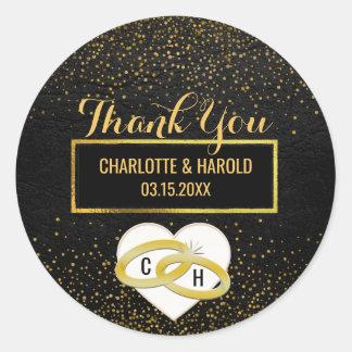 Black Leather Gold Glitter Look | Wedding Favor Round Sticker