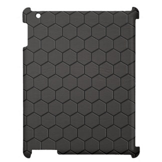 Black Leather Hexagon Print Cover For The iPad