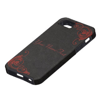 Black Leather Image with Tooled Scrolls in Red iPhone 5 Cover
