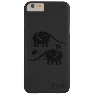 Black Leather Look Elephant Illustration Barely There iPhone 6 Plus Case