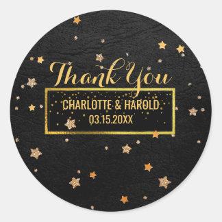 Black Leather Look Gold Stars | Wedding Thank You Round Sticker
