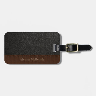 Black Leather Look Luggage Tag
