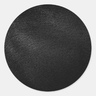 Black Leather Look Round Sticker