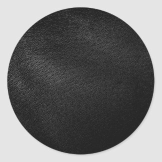 Black Leather Look Round Stickers