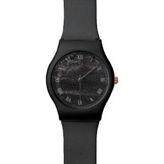 Black Leather Look Texture Design Watch