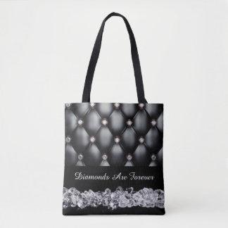 Black Leather Look White Diamonds Tote Bag