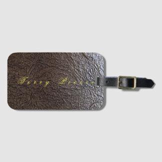 Black Leather Look Wrinkled Luggage Tag