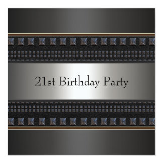 Black Leather Mans 21st Birthday Party Card