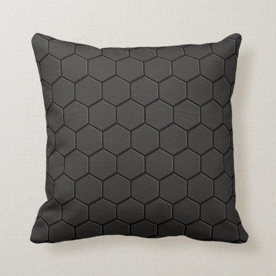 Black Leather Matrix Print Pillow #1