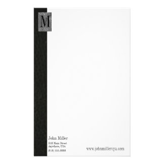 Black Leather Monogram Business Letterhead Stationery