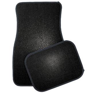 Black Leather on Black Car Mat