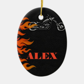 Black Leather & Orange Flames Biker Motorcycle Ceramic Ornament