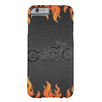 Black Leather Orange Flames Motorcycle Biker Barely There iPhone 6 Case