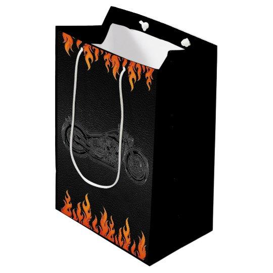 Black Leather Orange Flames Motorcycle Biker Party Medium Gift Bag