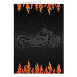 Black Leather Orange Flames Motorcycle Thank You Card