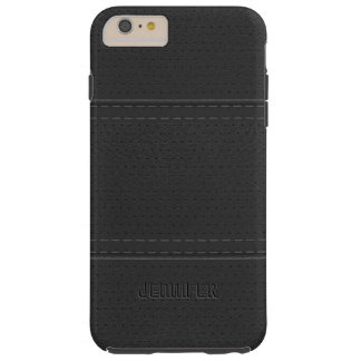 Black Leather Print Stitches Accents Tough iPhone 6 Plus Case