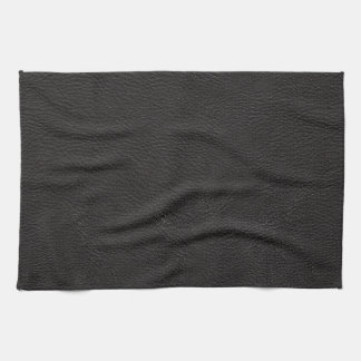 Black Leather Print Texture Pattern Kitchen Towel