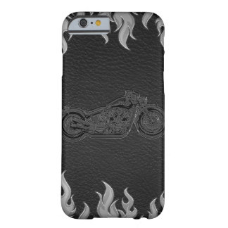 Black Leather Silver Chrome Motorcycle Biker Barely There iPhone 6 Case