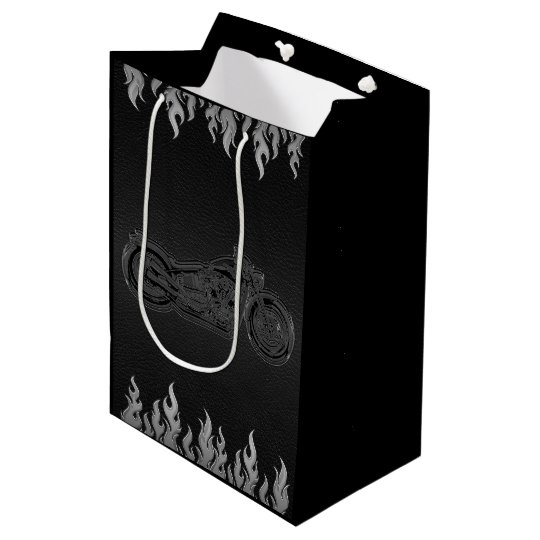 Black Leather Silver Chrome Motorcycle Biker Party Medium Gift Bag