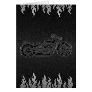 Black Leather Silver Flames Motorcycle Thank You Card