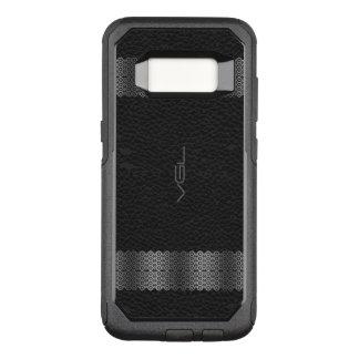 Black Leather Silver & Stripe Border 2 OtterBox Commuter Samsung Galaxy S8 Case