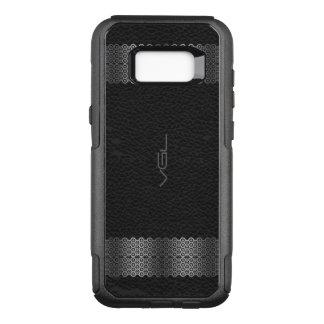 Black Leather Silver & Stripe Border OtterBox Commuter Samsung Galaxy S8+ Case