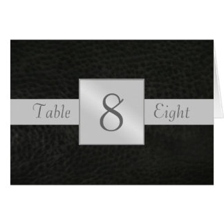 Black Leather Table Number Folded Card