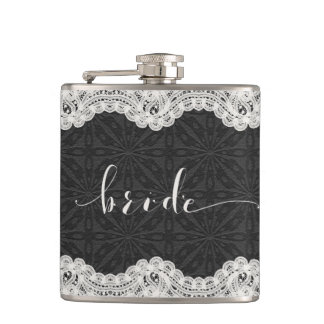 Black Leather, White Lace, & Bride Typography Hip Flask