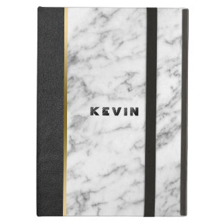 Black Leather & White Marble Case For iPad Air