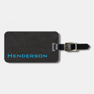 Black Leather with Blue Text Luggage Tag