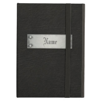 Black Leather With Plaque iPad Air Cover
