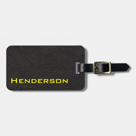 Black Leather with Yellow Text Luggage Tag