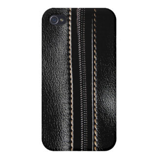 Black Leather with Zipper Covers For iPhone 4