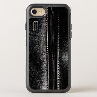 Black Leather Zipper Monogram OtterBox iPhone Case