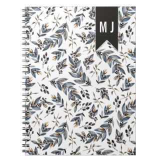 Black Leaves Berries Pattern Monogram | Notebooks