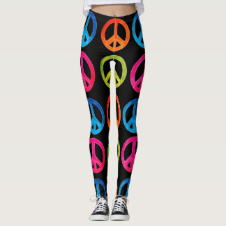 Black leggings with peace signs