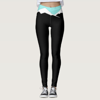 Black Leggings with White and Blue Mountains