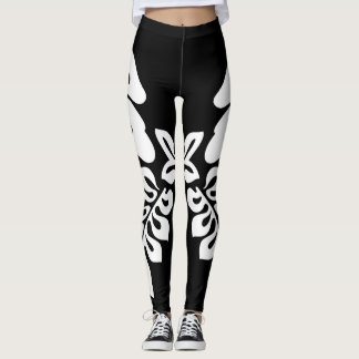 Black leggings with white cutout design
