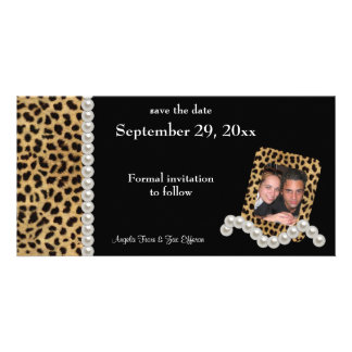Black Leopard And White Pearls Save The Date Picture Card