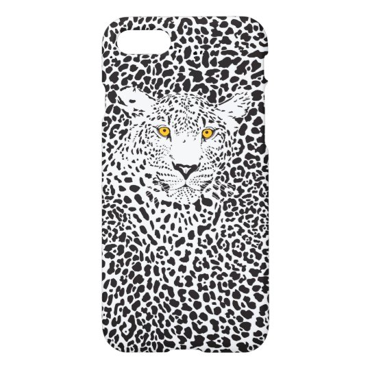 Black Leopard On White iPhone 8/7 Case