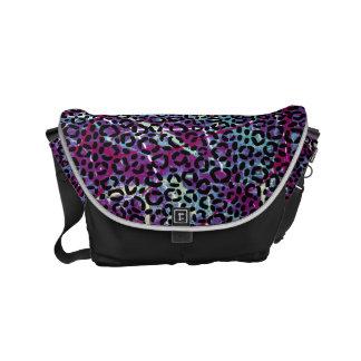 Black Leopard Print on Purple Pink Blue Texture Messenger Bags