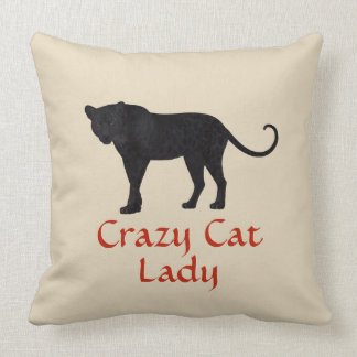 Black Leopard | Red Typography | Crazy Cat Lady Throw Pillow