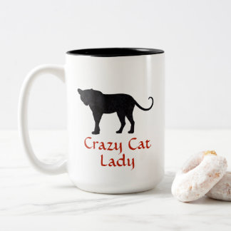 Black Leopard | Red Typography | Crazy Cat Lady Two-Tone Coffee Mug