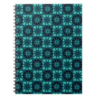 Black Light Blue Aztec Geometric Floral Print Notebook