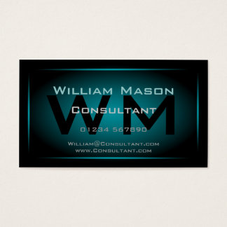Black & Light Blue Framed Monogram - Business Card