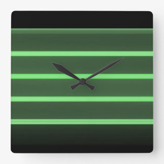 black light green square wall clock