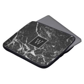 Black & Light Grey Marble Stone Texture Laptop Computer Sleeves
